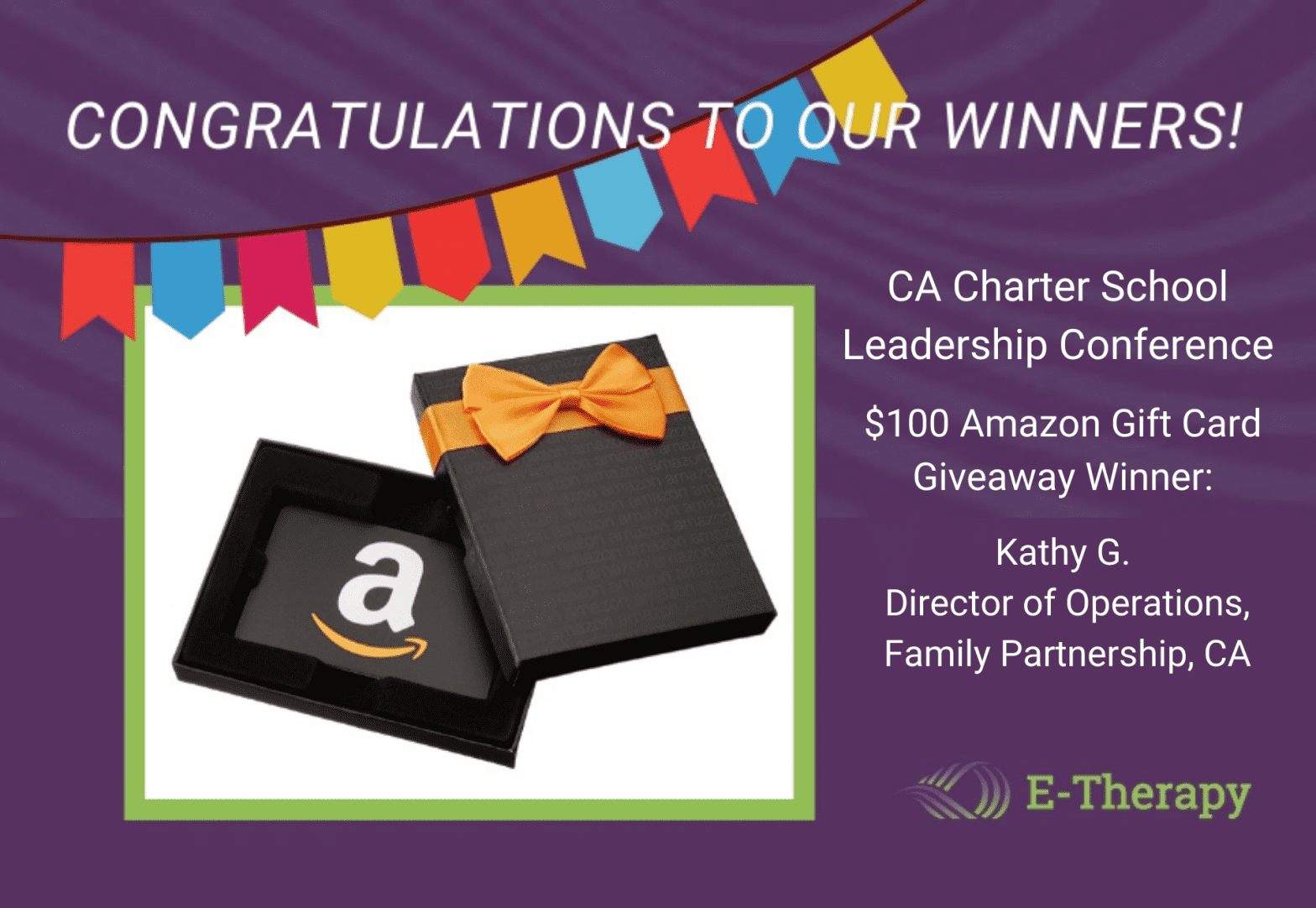 E-Therapy Announces CA Charter Schools Leadership Giveaway Winner